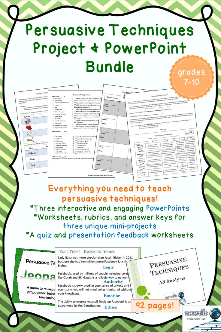 Modern Language Classroom Techniques ~ Persuasive techniques unit powerpoint project bundle