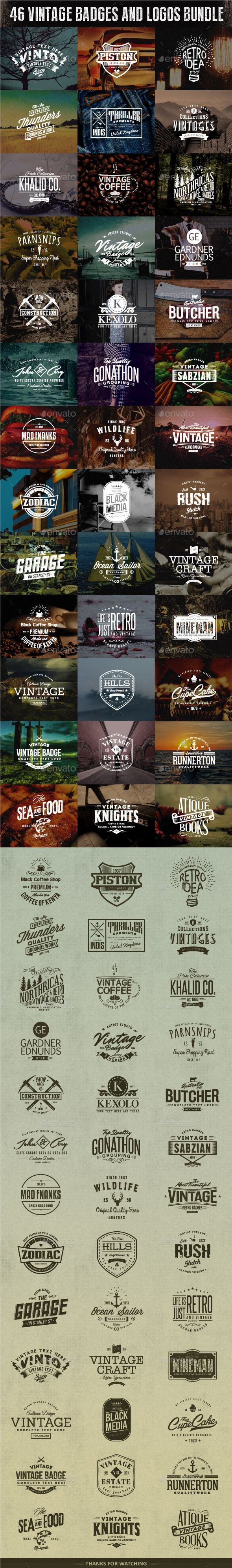 A Bundle of 46 Badges and logos which can be used as your logos, labels, badges, watermark and other identity,branding materials, design proposal, marketing graphics, blog headers, and so much more. #design Download: http://graphicriver.net/item/46-badges-and-logos-bundle/10699586?ref=ksioks