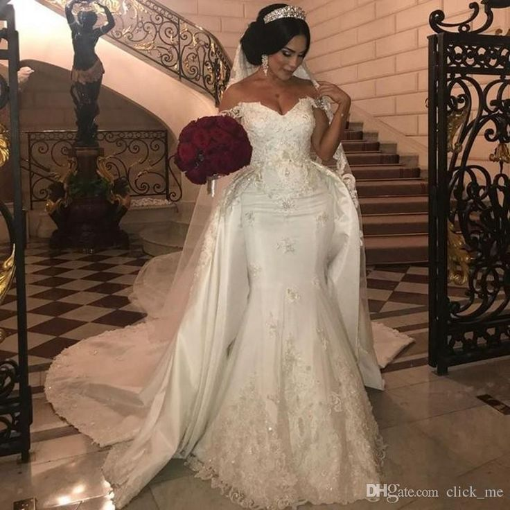 African Overskirts Wedding Dresses Plus Size Lace Appliques Off the Shoulder Mermaid Wedding Dress Beaded Sequined Plus Size Bridal Gowns