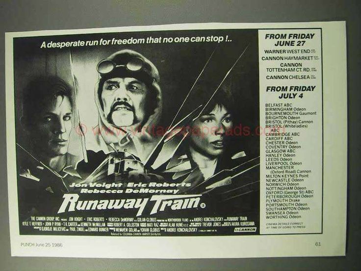 1986 Runaway Train Movie Ad - Jon Voight, Eric Roberts
