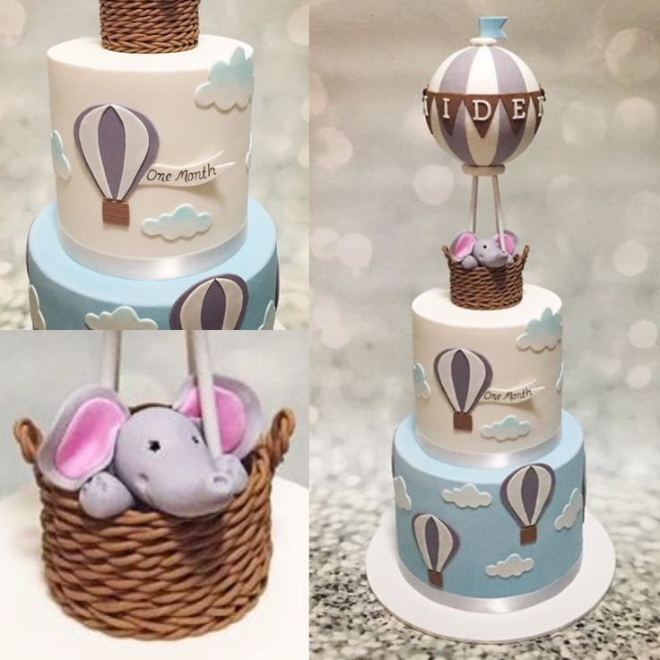 Final Result - Elephant hot air balloon cake. Aidens's one month birthday cake. Happy Cakes, Perth