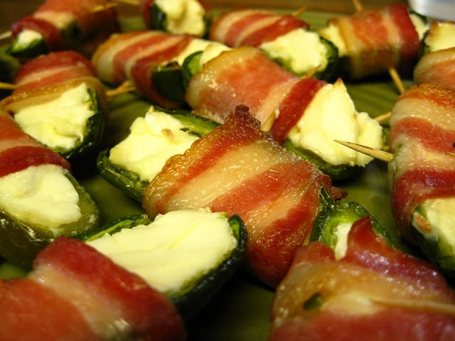 Bacon-wrapped jalapeno poppers | food | Pinterest
