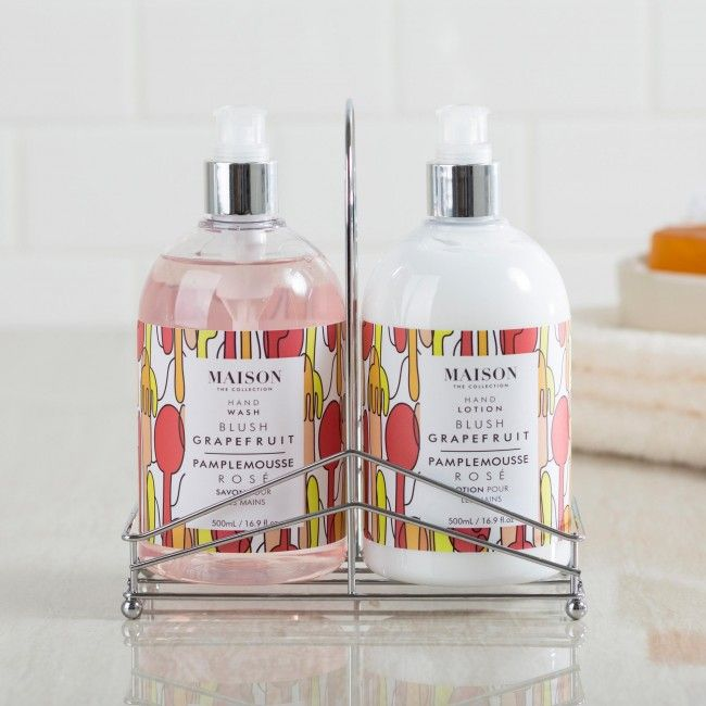 This beautifully crafted caddy set enhances your decor and is a stunning gift for any occasion. The hand wash and lotion feature the beautiful scents of fresh cut grapefruit with pink sugar.