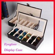 Free Shipping 6B6C PU Optical Frame Reading Glasses Sunglasses Display Case Box Hold 6pcs Of Glasses Multi-function Box(China (Mainland))