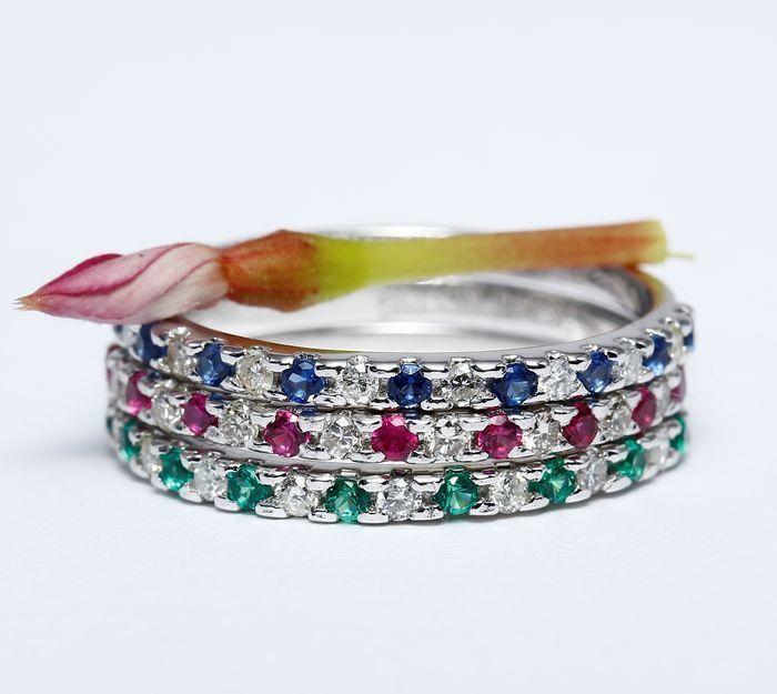 14 k White Gold set 3 diamant Robijn blauwe saffier en Smaragd band ringen;maat 55 - geen minimumverkoopprijs  EUR 125.00  Meer informatie