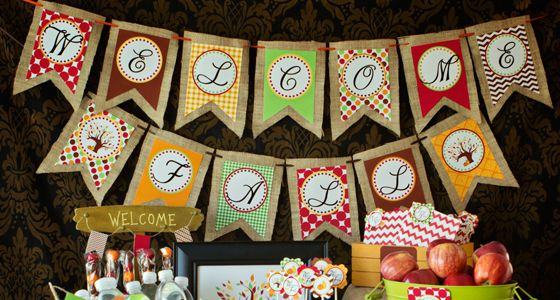 """This free printable fall banner coordinates with the """"Welcome Fall"""" collection. The banner is quite large and works well in big spaces. As an alternative you can just print out the """"fall"""" section of the banner to fit a smaller space. You can see all of the """"Welcome Fall"""" Collection..."""