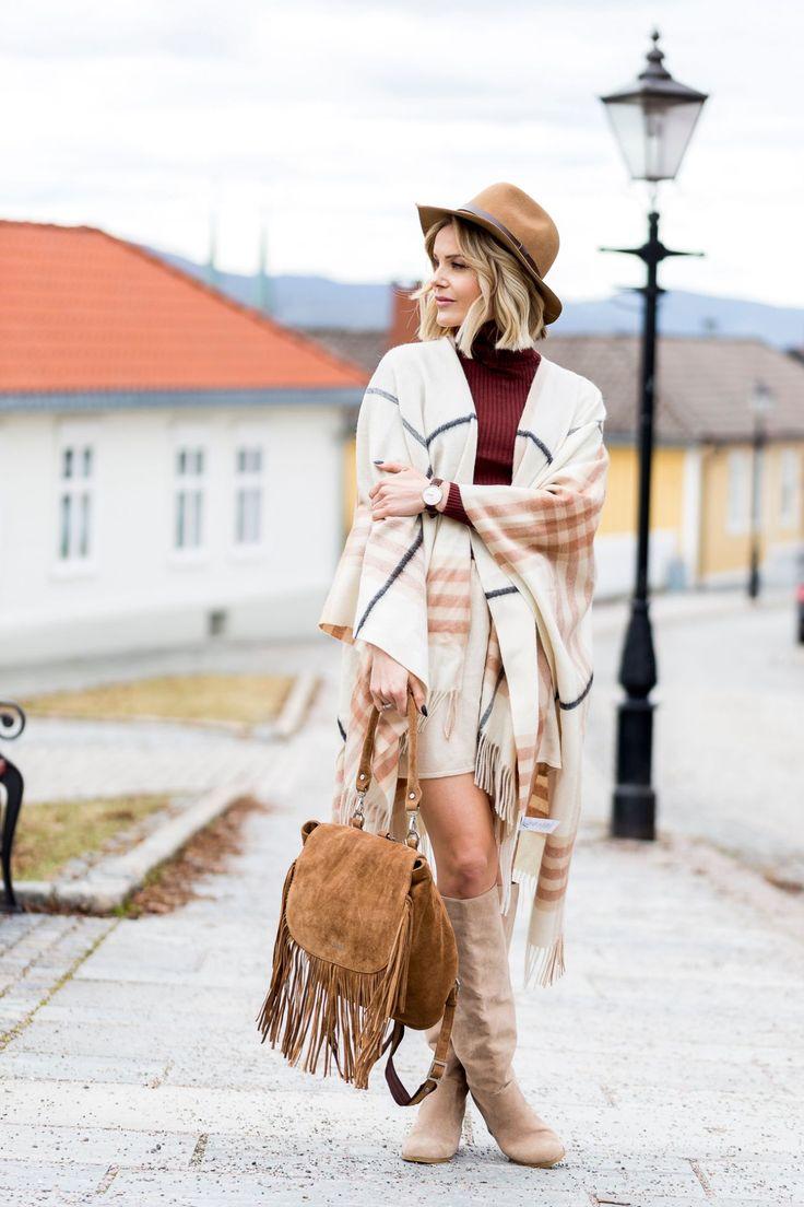 Woollen Poncho hatt h&m / boots nelly / belte michael kors (annonselinker) poncho HER / genser HER / (sponset) veske adax Fashion Look by Caroline Berg Eriksen