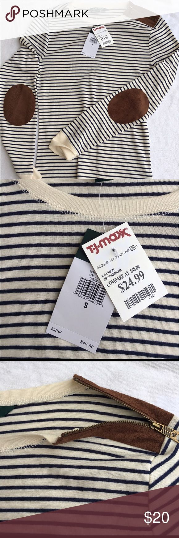 Polo Ralph Lauren long sleeve New striped polo long sleeve shirt w/ elbow patches and zipper Polo by Ralph Lauren Tops Blouses