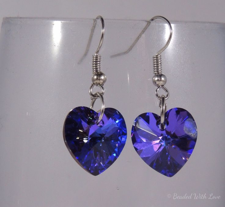 Purple crystal heart earrings
