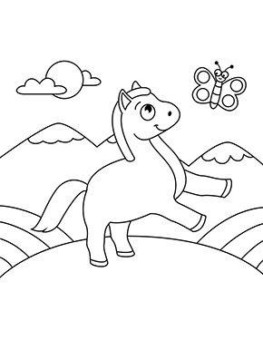 ausmalbild pferd spielt mit schmetterlling zum ausmalen. ausmalbilder   ausmalbilderpferde  