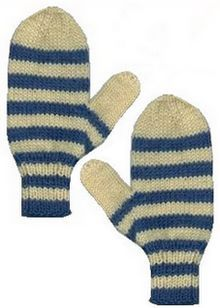 Free knitting pattern to make a pair of striped mittens in worsted weight yarn.