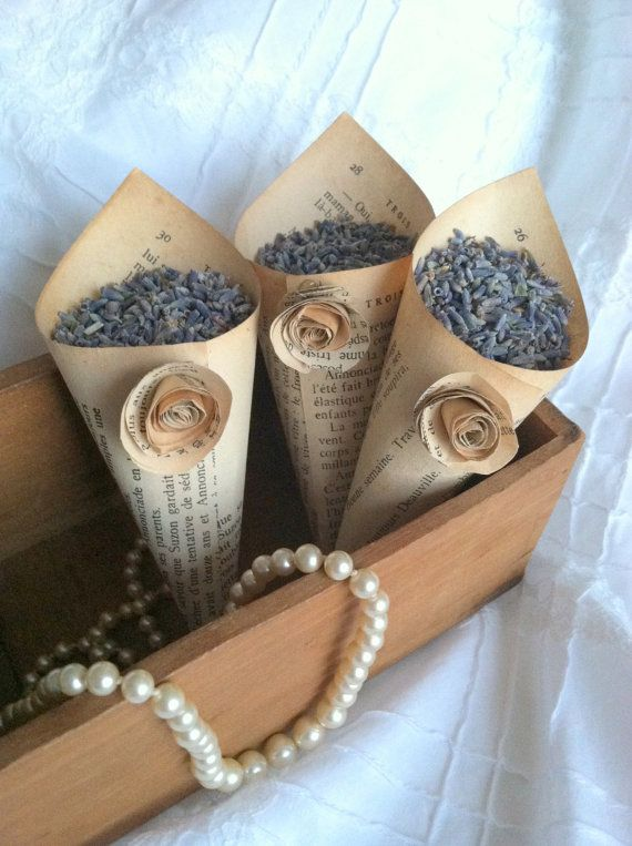 Set of 10 - Vintage French Book Paper Cones & Roses/Wedding Petal Toss/Spring Vintage Wedding/Featured in Southern Bride Magazine June 2013 via Etsy
