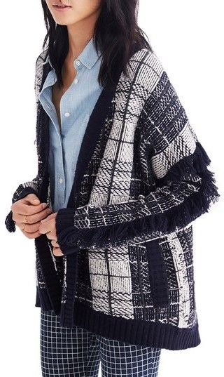 Madewell Women's Plaid Fringe Cardigan