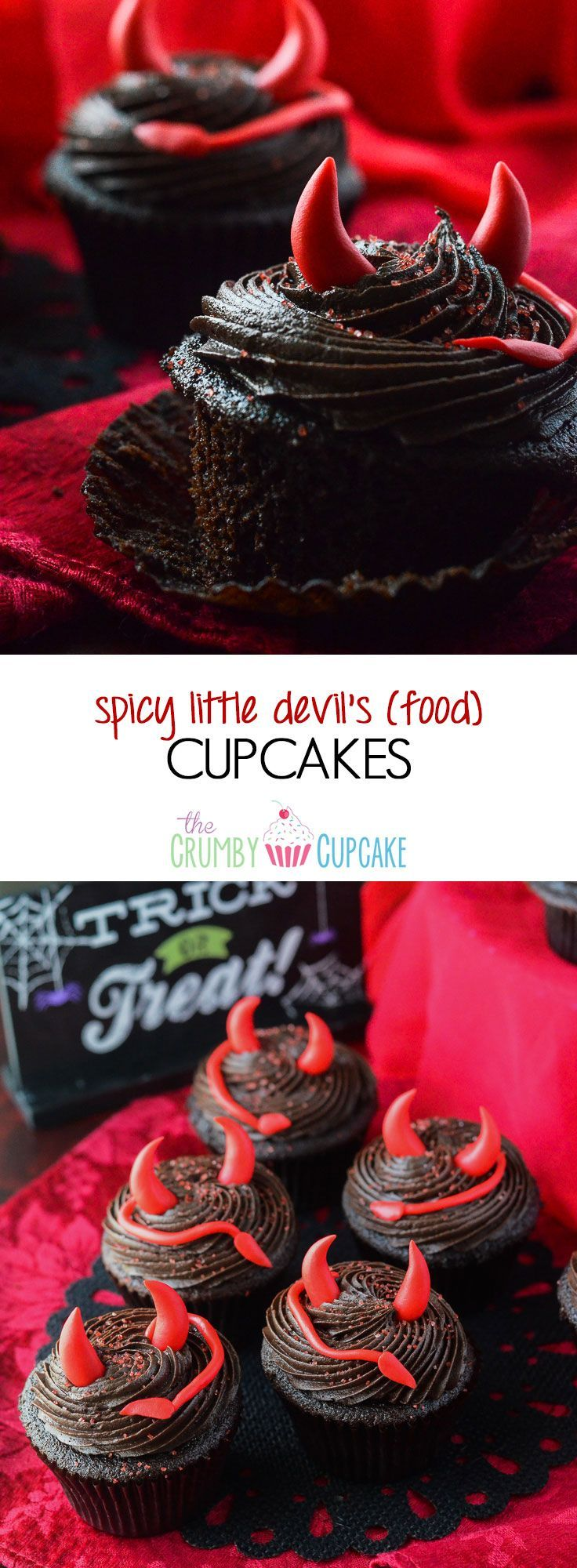 Spicy Little Devil's (Food) Cupcakes | These are no ordinary chocolate cupcakes! They turn up the heat with cinnamon & cayenne, and are topped with devilish decor perfect for any Halloween party! #SundaySupper