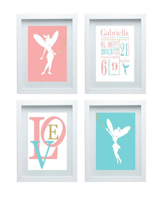 fairy nursery decor pink teal blue gold custom name art. Black Bedroom Furniture Sets. Home Design Ideas
