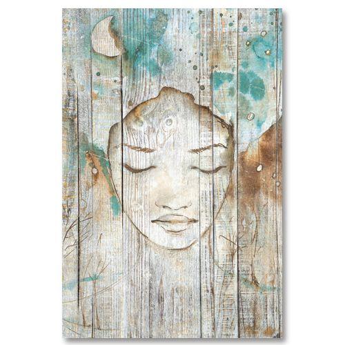 Tableau décoratif effet bois rêve de femme esquisse peinture bleu turquoise