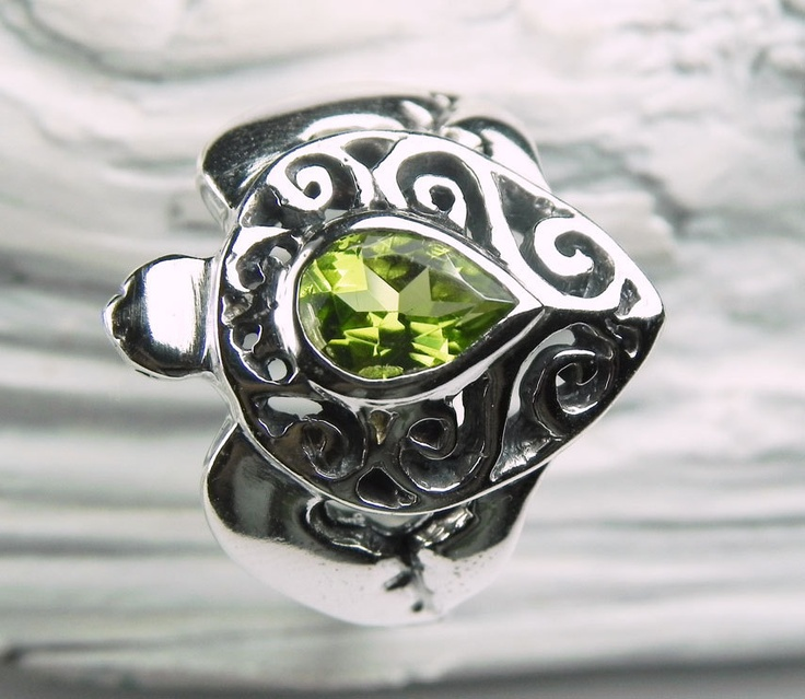 Turtle Ring - Sea Turtle Ring - Peridot Ring - Unique Silver Sea Turtle Jewelry - Ocean Inspired - Pea Green August Birthstone.