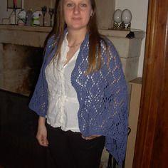 Orage, châle (ou étole) tricoté main 100% soie