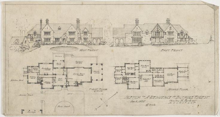 Large tudor mansion blueprint facade and floor plans for Tudor mansion floor plans