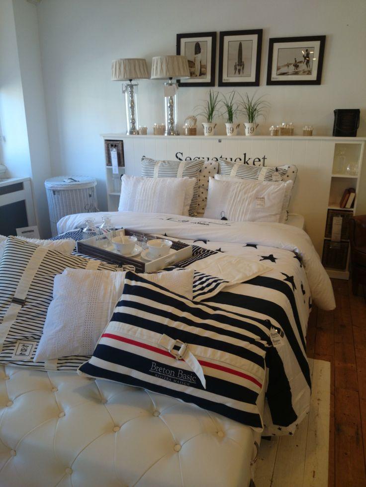 Ons nieuwe thema past ook perfect in de slaapkamer. Zo ziet u hier ons nieuwe thema  Breton Basic dekbed en kussenslopen.