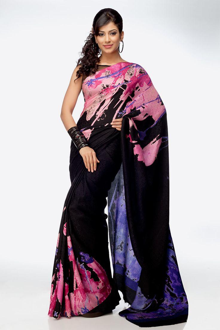 Black Jacquard Printed #Saree Online at Best Price