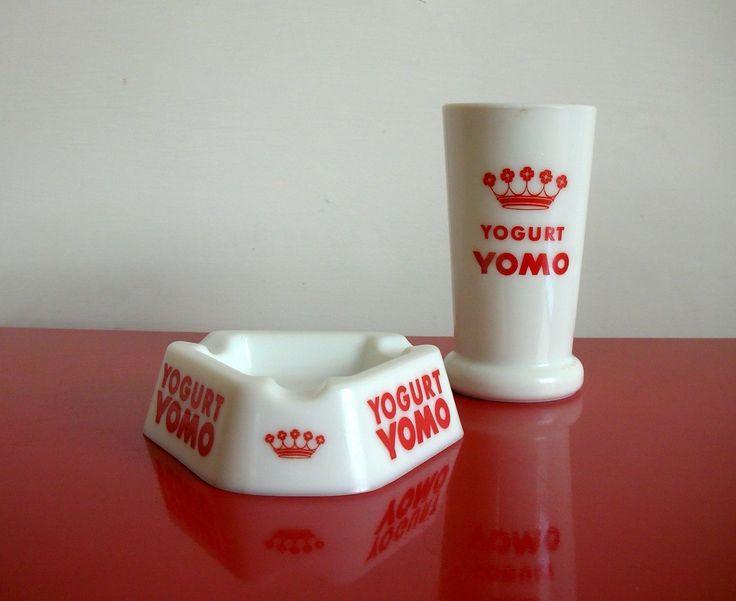 YOMO BICCHIERE Yogurt + POSACENERE Vetro Opalino 1950