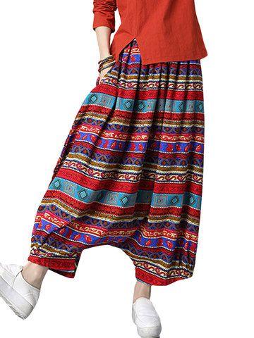 Ethnic Stripe Printed Loose Harem Folk Women Pants
