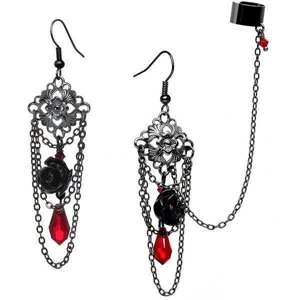 Body Candy Handcrafted Gothic Rose Ear Cuff to Chain Earring Set... (23 BAM) ❤ liked on Polyvore featuring jewelry, earrings, handcrafted earrings, ear cuff jewelry, gothic jewelry, rose jewelry and swarovski crystal jewelry