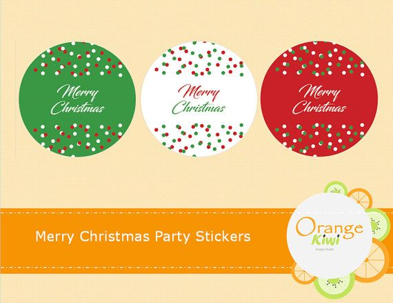 Merry Christmas Stickers Xmas Envelope Seals by OrangeKiwiDesign