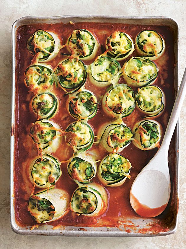 Zucchini cannelloni filled with delicious ricotta, baby spinach, mint and mozzarella is a tasty mid week meal that is surprisingly easy to prepare.