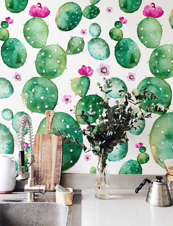 Watercolor Cactus with flowers Wallpaper Removable by Jumanjii