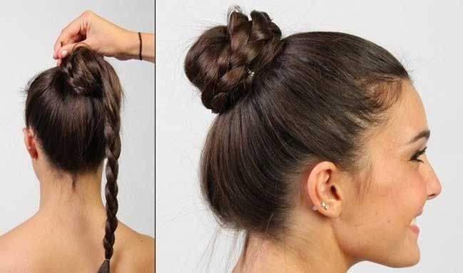 Trending #Hairstyles for Sarees -  Braided Bun