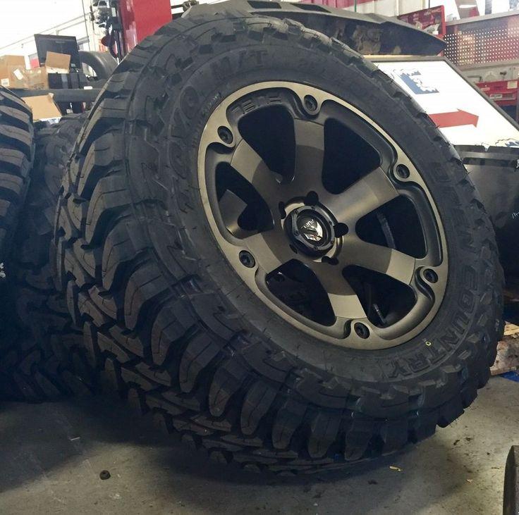 """20"""" Fuel Beast D564 Black Wheels Rims and 35"""" Toyo MT Tires 5x5.5 Dodge Ram 1500"""