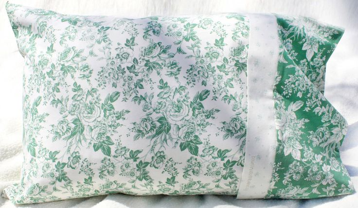 Beautiful French-seamed Pillowcase from my Ivory & Green Roses Collection 100% high quality cotton fits a standard size pillow looks great as a matching pair or mix and match with the other two designs from the same Collection