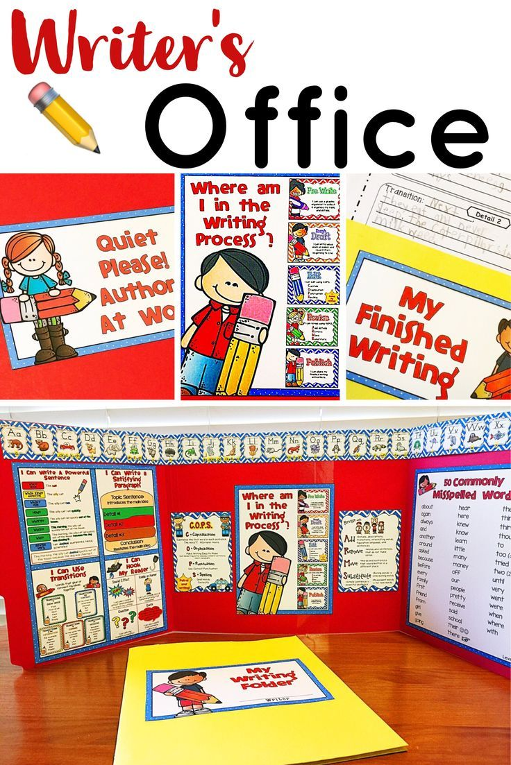 This Writer's Office provides the privacy most writers need in order focus on their writing and not be distracted by what is happing around them. The office also contains visual tools that will aid students move through the writing process with increasing independence.