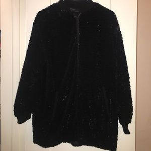 Zara Jackets & Blazers - Zara black sequin bomber jacket