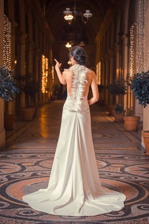 Alkmini Bridal Dress Feather back