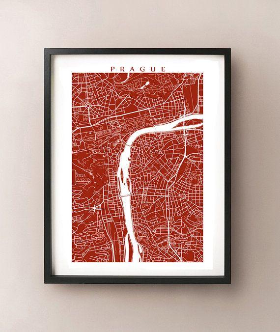 Prague Map Print  Czech Republic Wall Art by CartoCreative on Etsy #Prague #map