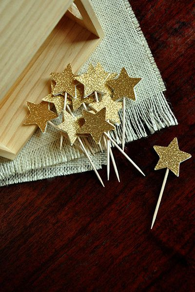 Pink and Gold Birthday Decorations - ships in 1-3 business days - Glitter Gold Mini Star Cupcake Toppers 12CT.