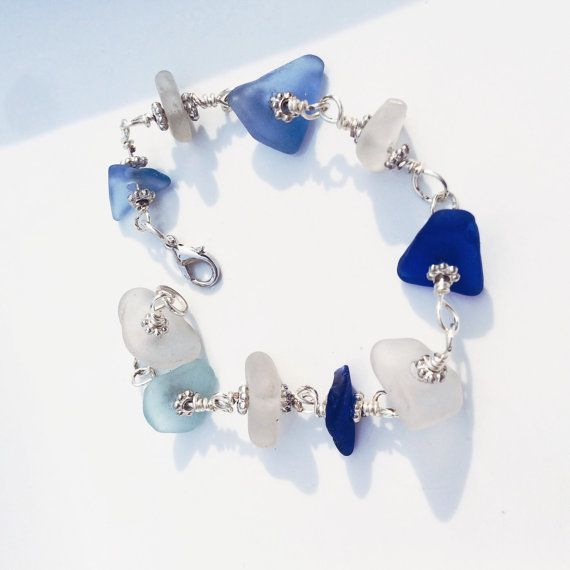 Blue Beach Bracelet Genuine Cobalt Blue, White and Cornflower Blue Texas found Sea Glass Handcrafted Wire Mermaid Bracelet