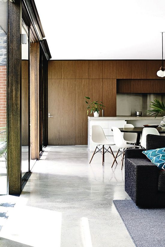 ETC INSPIRATION BLOG LIGHT MODERN MELBOURNE AUSTRALIA HOME MID CENTURY MODERN WOOD CABINETS KITCHEN WHITE DINING CHAIRS EAMES 3 photo ETCINS...