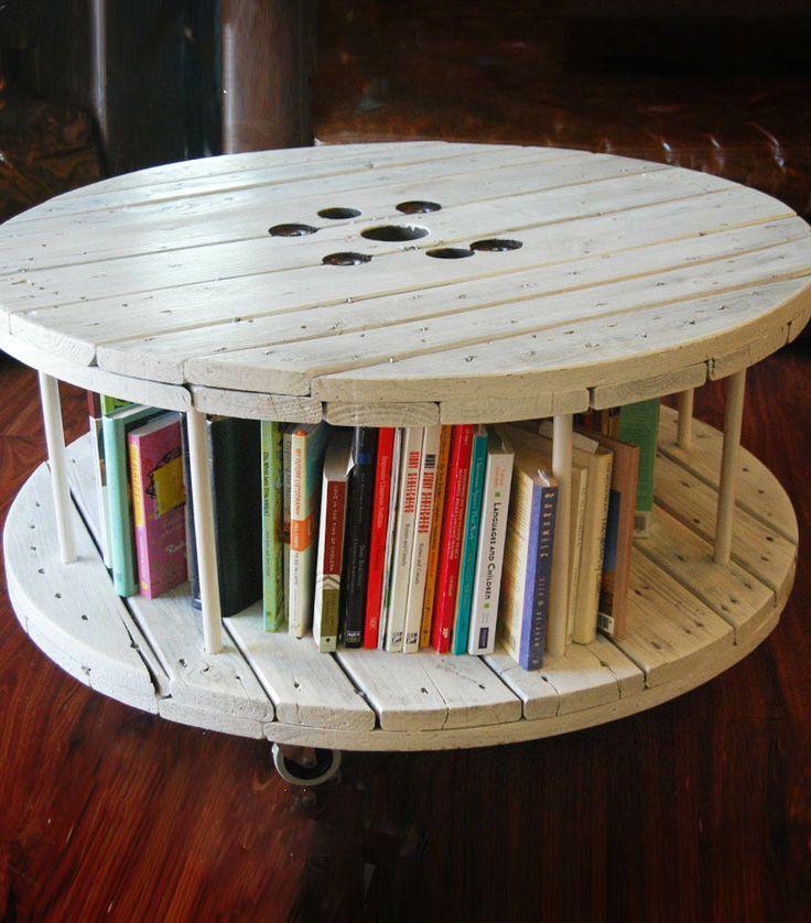 Bobina-tavolino con scaffalatura per i libri, e pure delle pratiche rotelle!