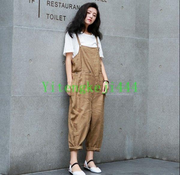 Fashion Womens Ladies Loose Linen Bib Pants Overalls Work Suspender Trousers