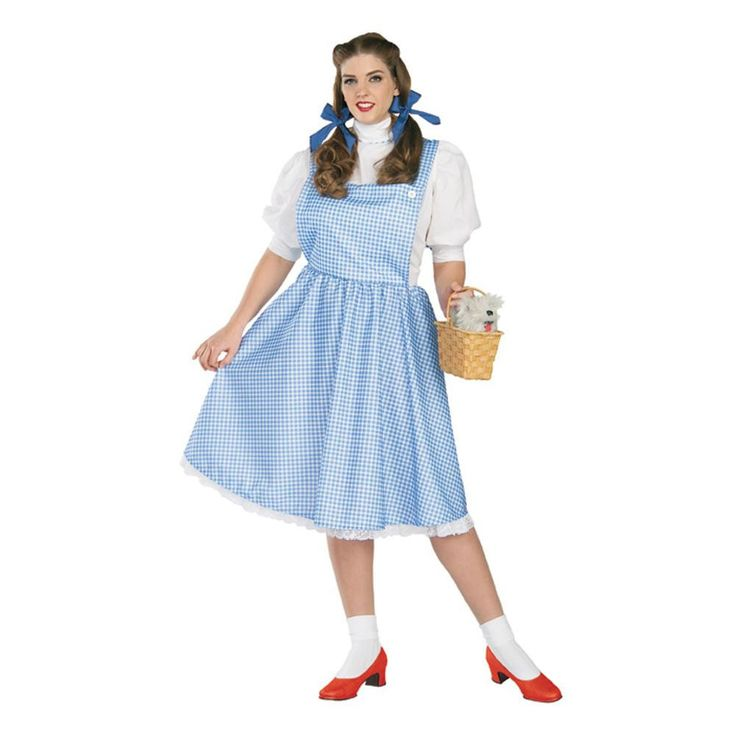 """Our Adult Dorothy costume features a cotton skirt, blouse & hair bows. - Blue dress - Attached white """"shirt"""" - SKU: CA-004473"""