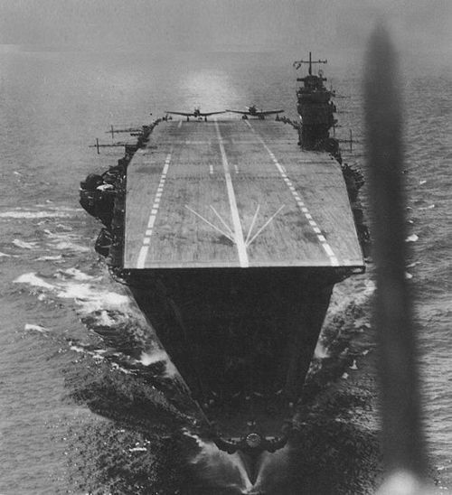 The Imperial Japanese Navy carrier Akagi, the flagship of the strike force that attacked Pearl Harbor, in April 1942 prior to the Battle of Midway.