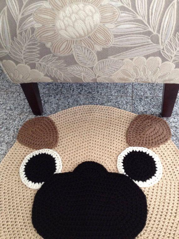 Crochet Pug rug от peanutbutterdynamite на Etsy