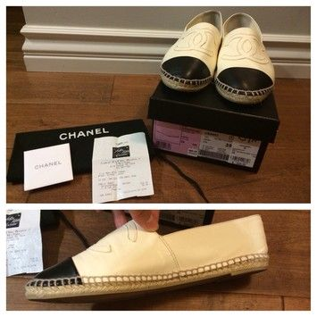 Chanel Black And White Espadrilles Size 39 (us Size Is About 8-8.5) Flats $696