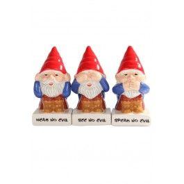 No Evil Gnomes Salt & Pepper Shakers