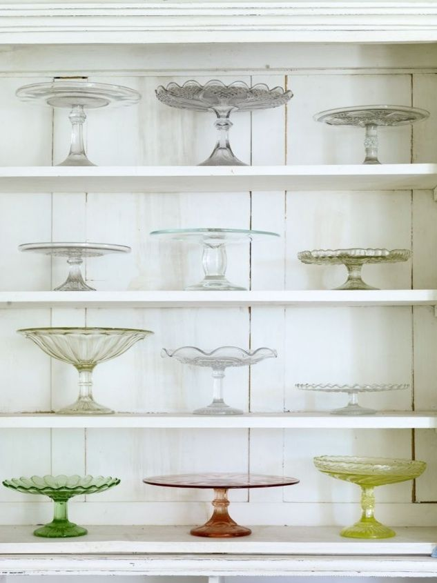 A collection of vintage cake plates.