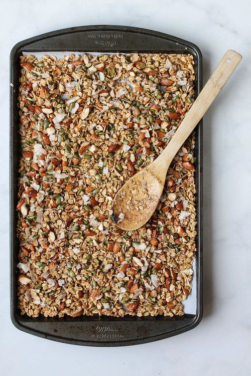 Maca Almond Granola    This healthy vegan granola made with almonds, pepitas, and maca powder is perfect for breakfast or a quick snack! Gluten free, no refined sugars and takes less than 30 minutes to make.    creamandhoney.ca